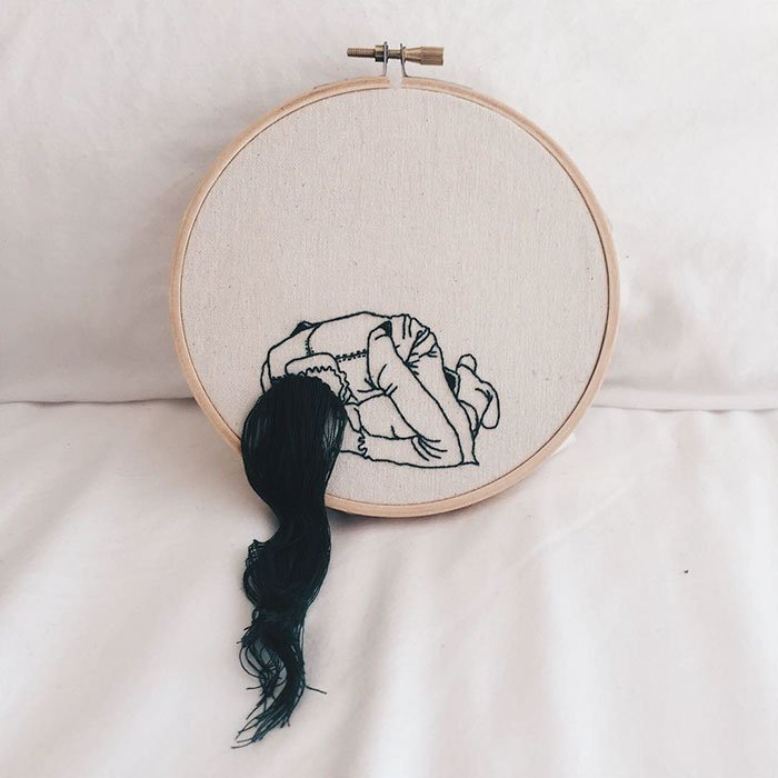 Sheena Liam 3D Embroidery woman bending over