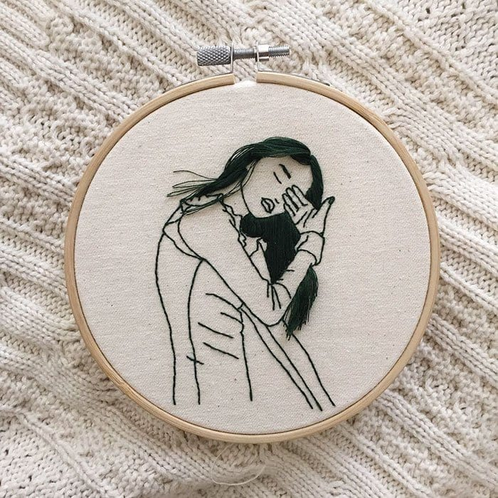 Sheena Liam 3D Embroidery woman brushing eye