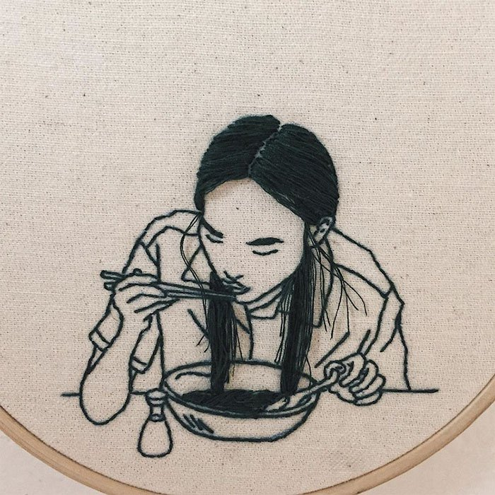 Sheena Liam 3D Embroidery woman eating