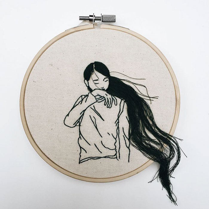 Sheena Liam 3D Embroidery woman hair flowing