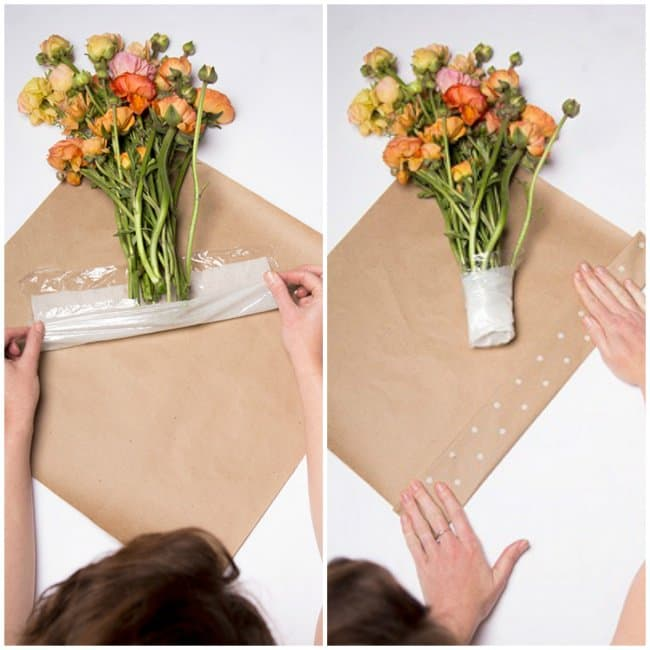 Unexpected Uses For Plastic Food Wrap fresh bouquet