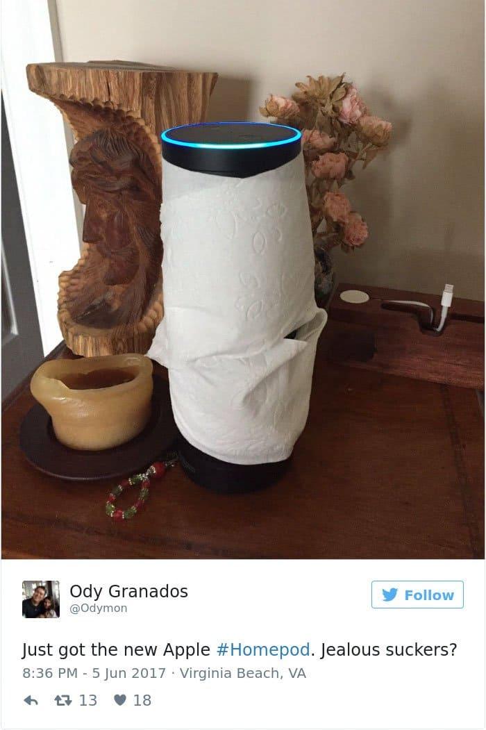 apple's homepod design reactions echo in toilet paper