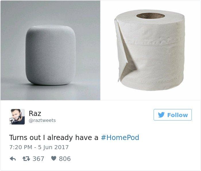 apple's homepod design reactions toilet roll