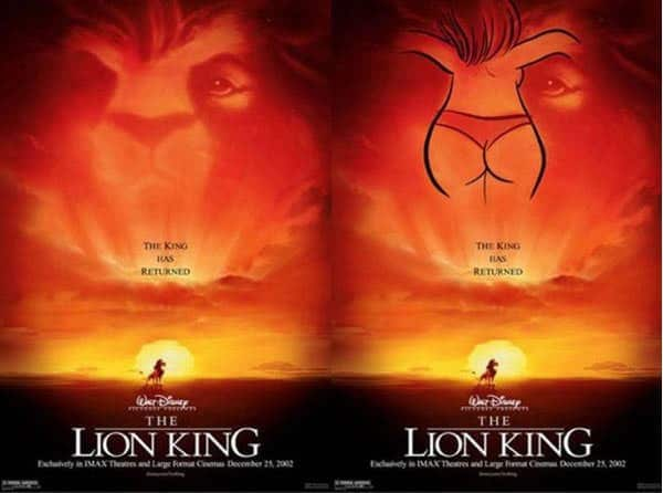 disney movie mistakes naked woman the lion king
