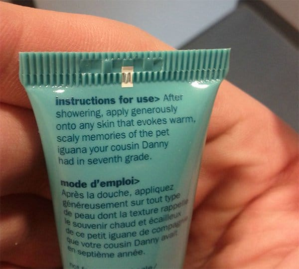 funny product instructions scaly memories lotion