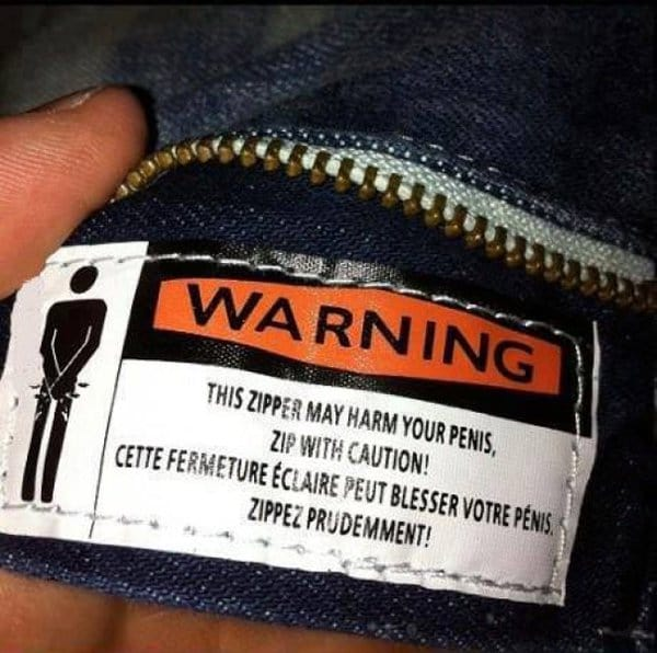 funny product instructions zip with caution