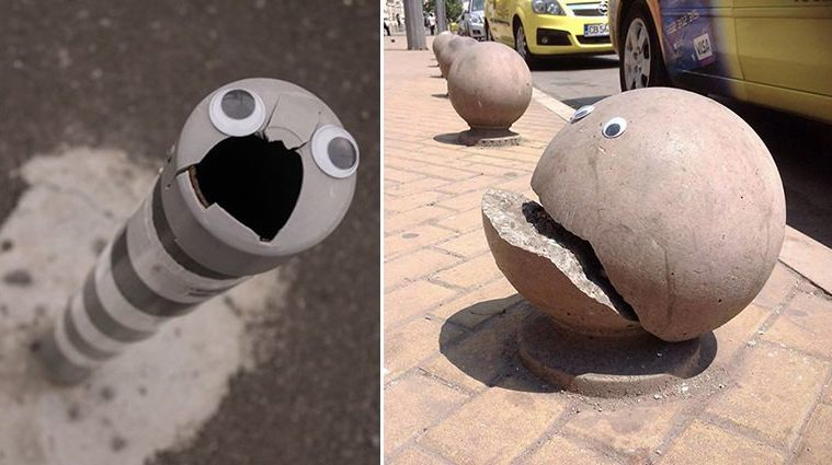 googly eyes on broken things