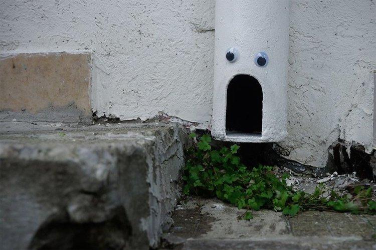 googly eyes on broken things bottom of pipe