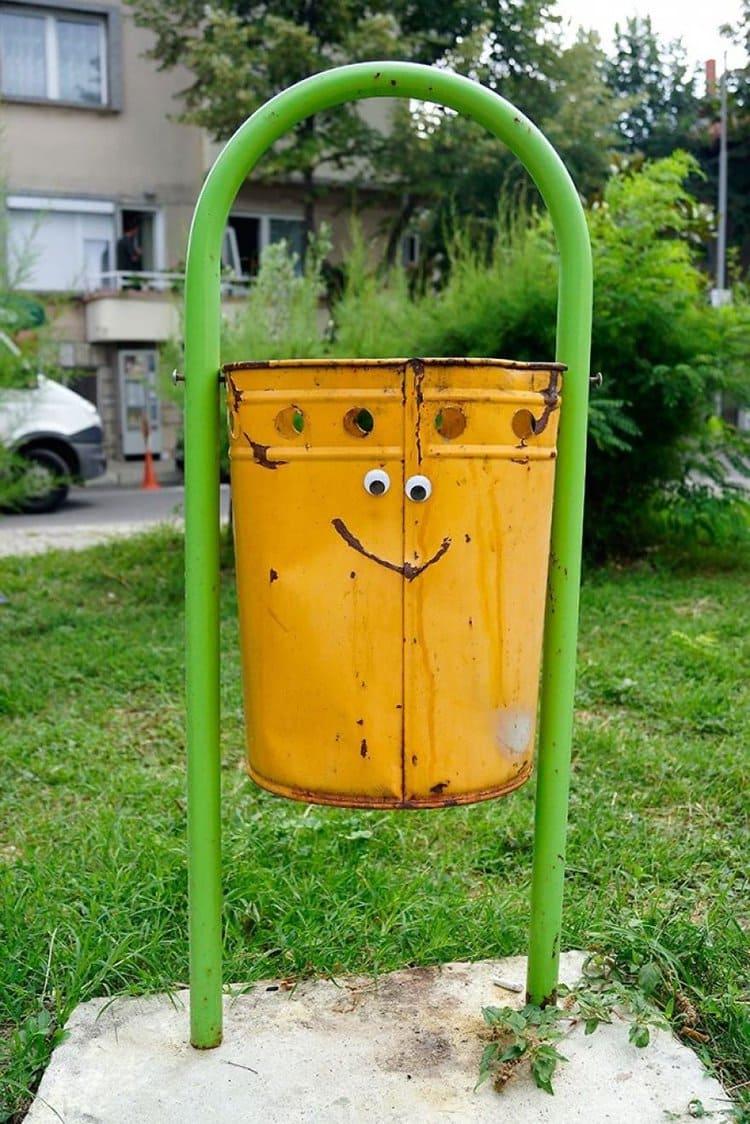 googly eyes on broken things bucket