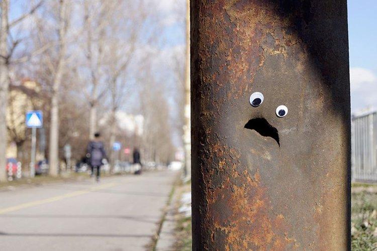 googly eyes on broken things large pole