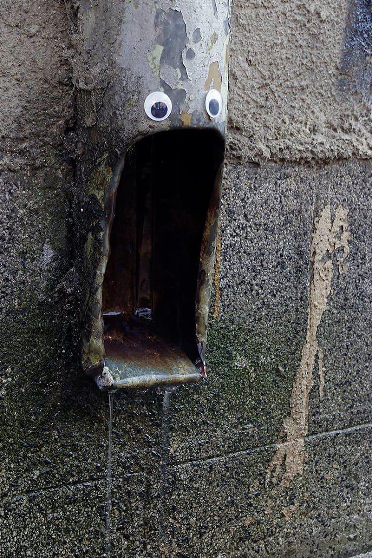 googly eyes on broken things pipe