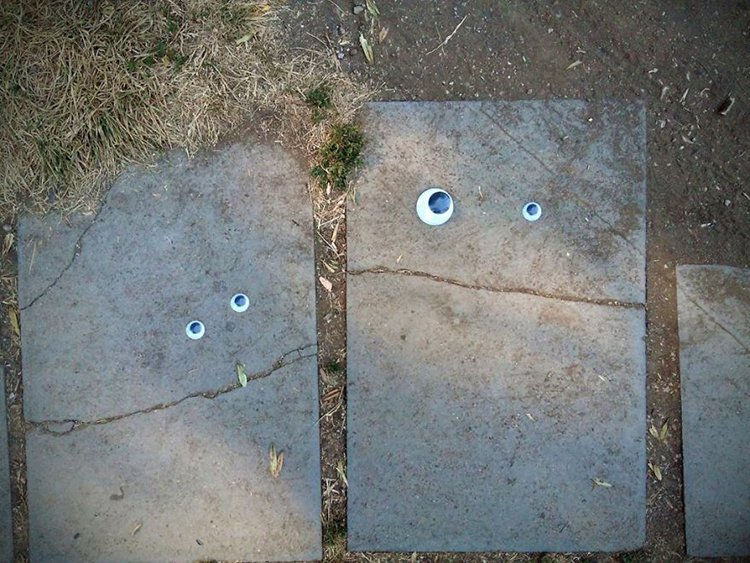 googly eyes on broken things stepping stones