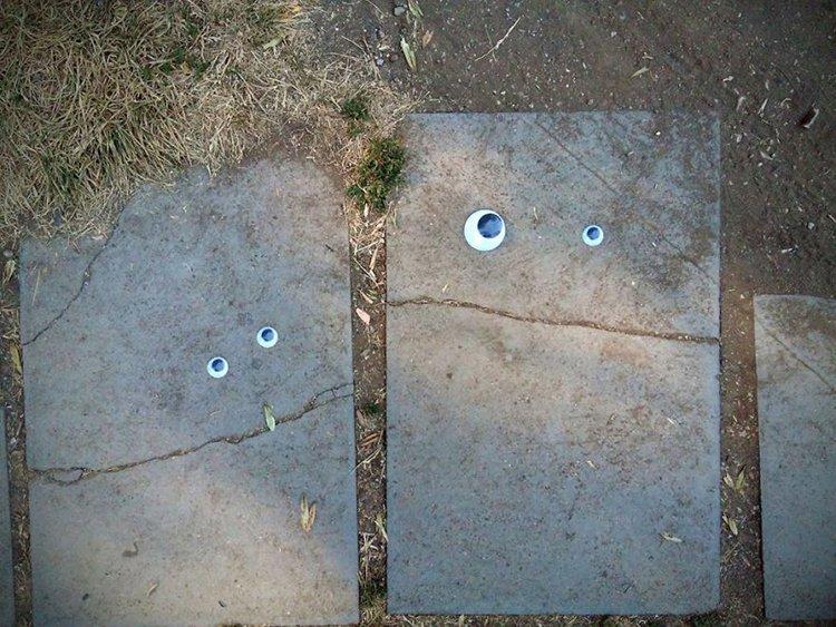 googly eyes on broken things stepping stones