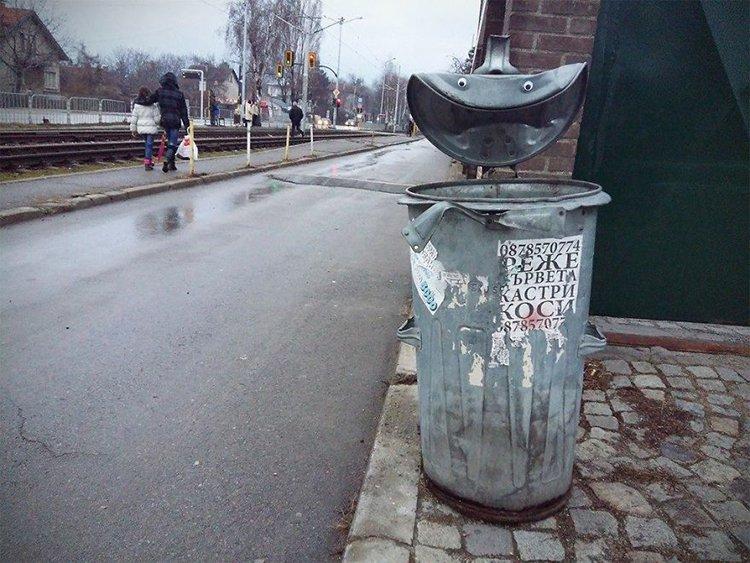 googly eyes on broken things trash can