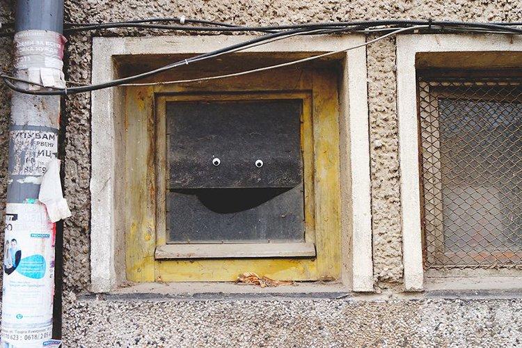 googly eyes on broken things window