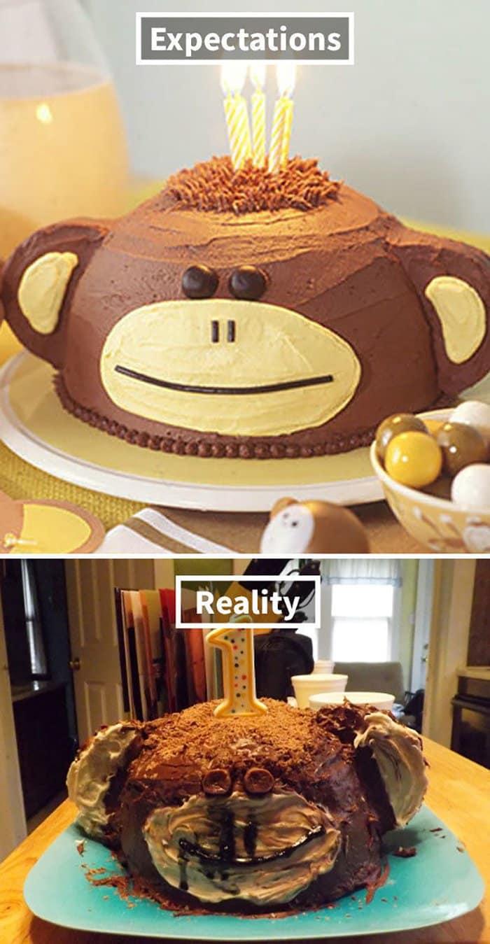 hilarious kitchen fails monkey cake