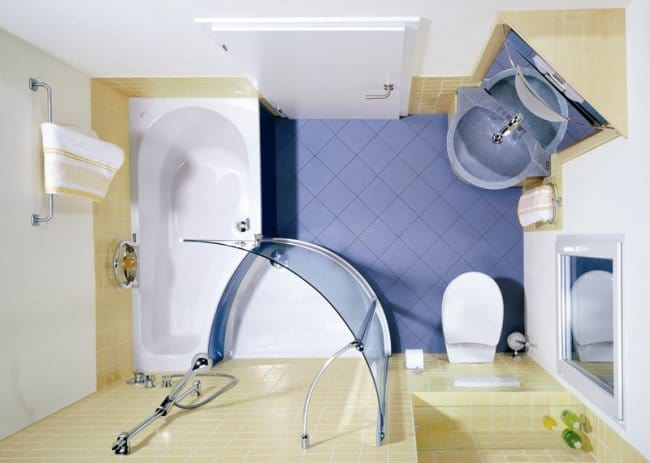 ideas-for-small-bathrooms place major elements in corners