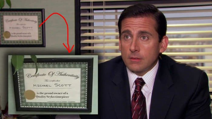 things you never noticed the office certificate for time piece