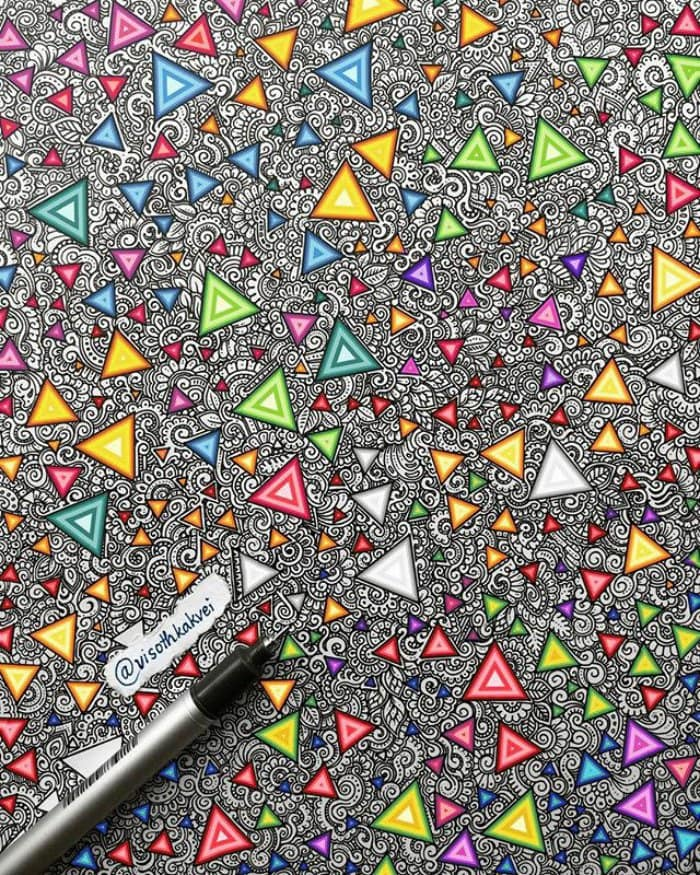 visoth kakvei doodles colorful triangles