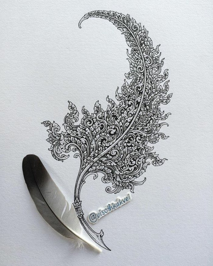 visoth kakvei doodles detailed feather