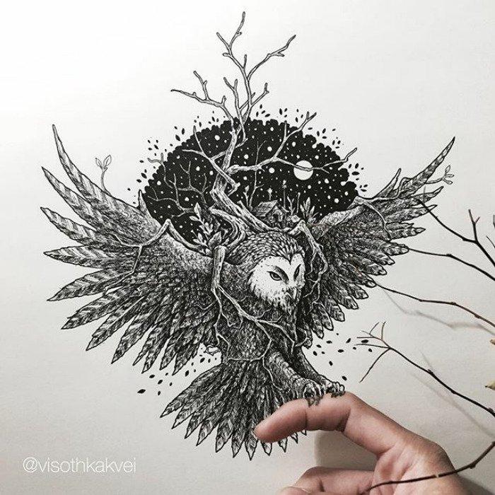 visoth kakvei doodles owl