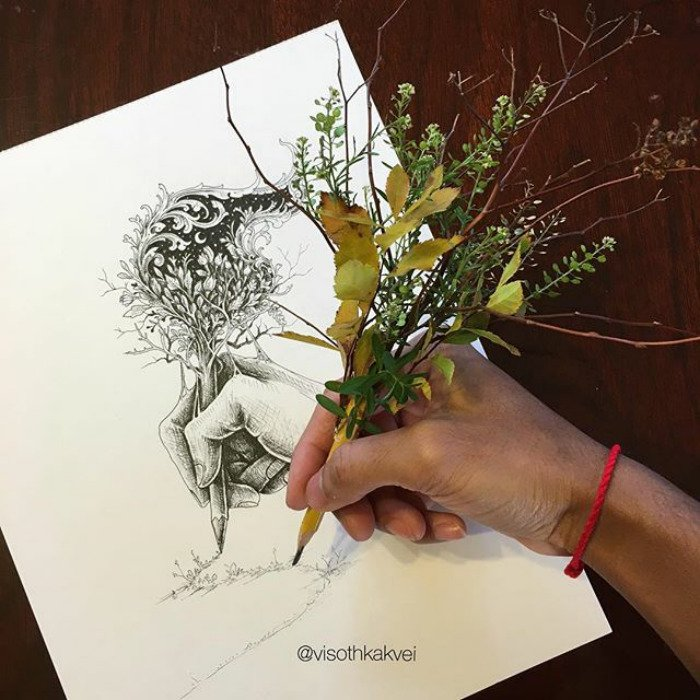 visoth kakvei doodles pencil with leaves