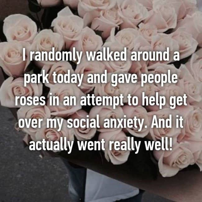 Anxiety Hacks walked around a park giving people roses