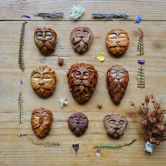 Artist Carves Avocado Pits faces