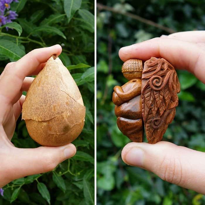 Artist Carves Avocado Pits shell