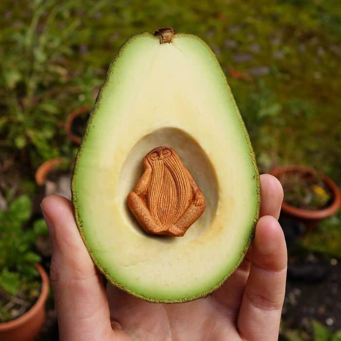 Artist Carves Avocado Pits sleeping man
