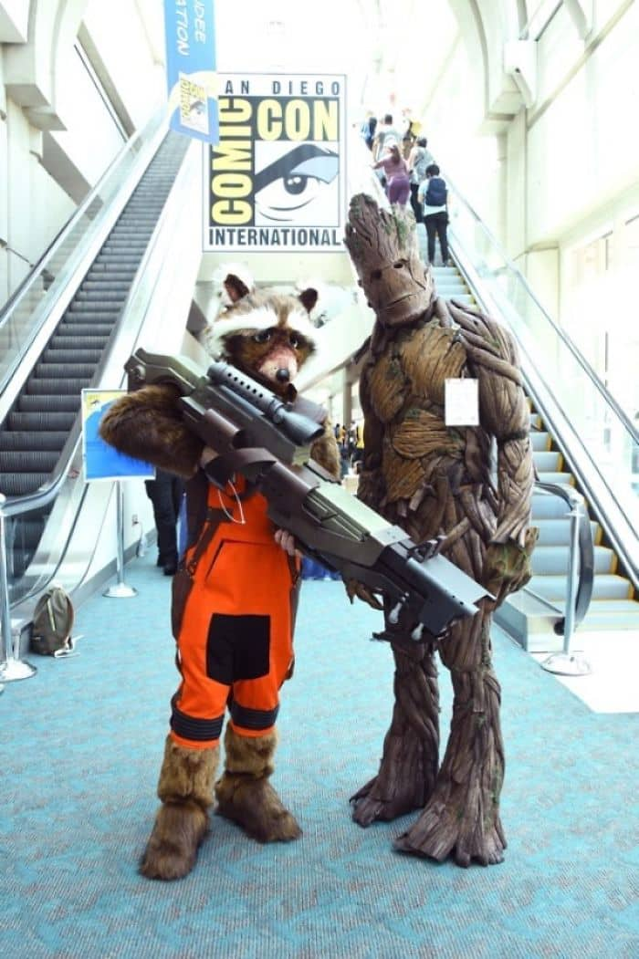 Best Cosplays From San Diego Comic Con rocket racoon and groot guardians of the galaxy