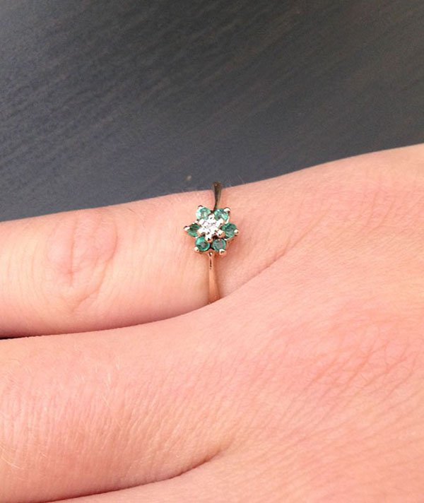Best Things In Thrift Stores 10k gold diamond and emerald ring for 1 dollar