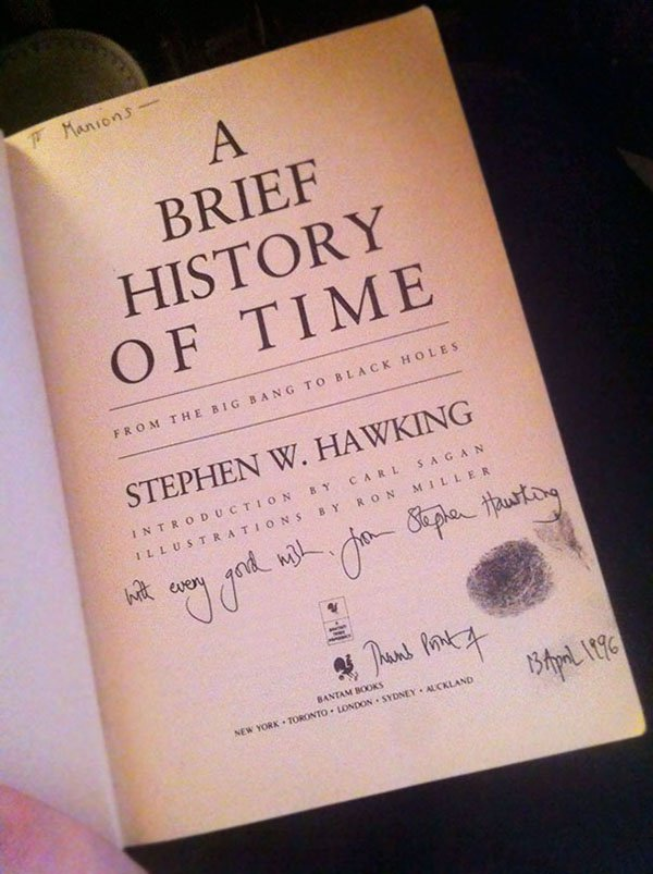 Best Things In Thrift Stores stephen hawking signed book