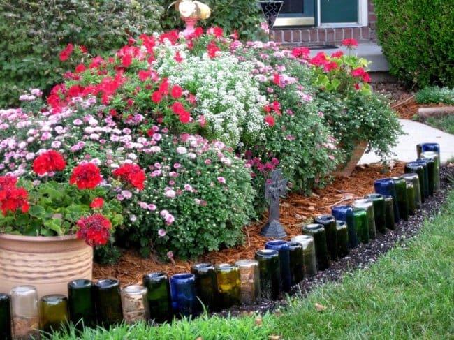 Bottle Project Ideas edging for garden beds