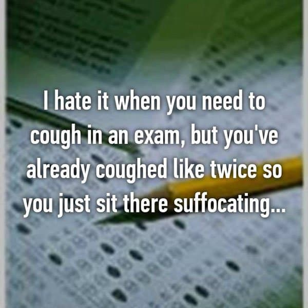 College Student Things coughing in exams