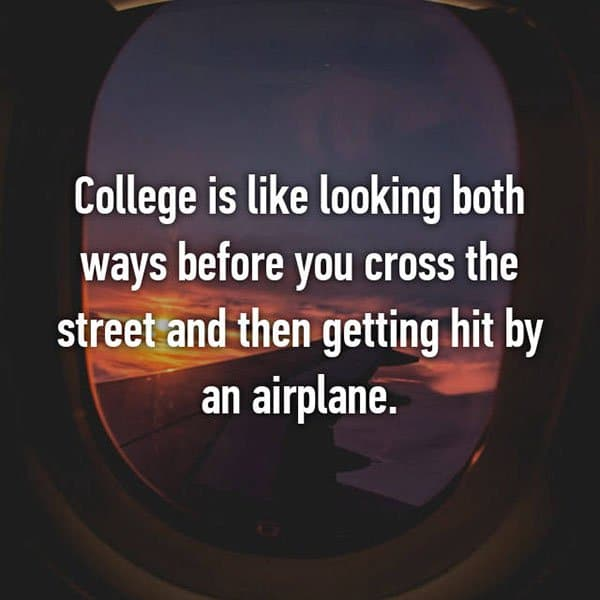 College Student Things looking both ways hit by an aeroplane