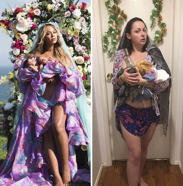 Comedienne Hilariously Recreates Celebrity Instagram Photos beyonce