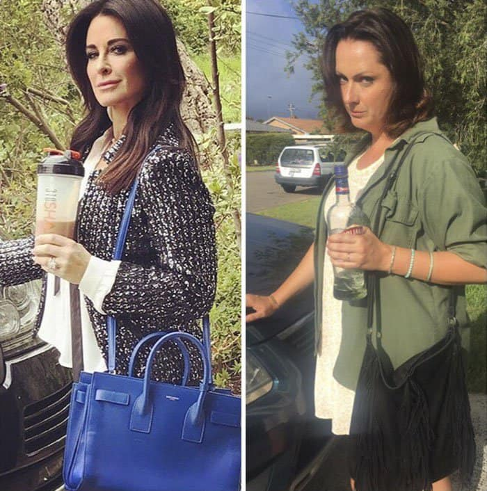 Comedienne Hilariously Recreates Celebrity Instagram Photos bottle and handbag