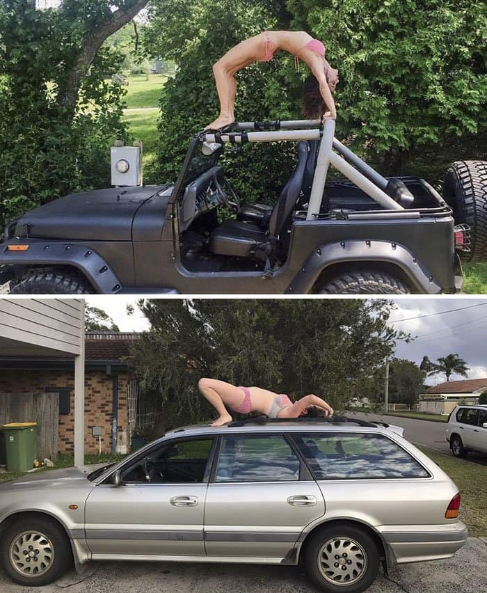 Comedienne Hilariously Recreates Celebrity Instagram Photos crab on car