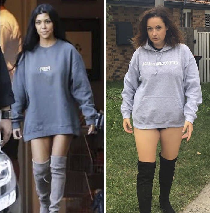 Comedienne Hilariously Recreates Celebrity Instagram Photos jumper with boots