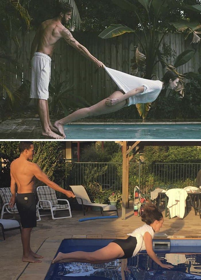 Comedienne Hilariously Recreates Celebrity Instagram Photos leaning over pool
