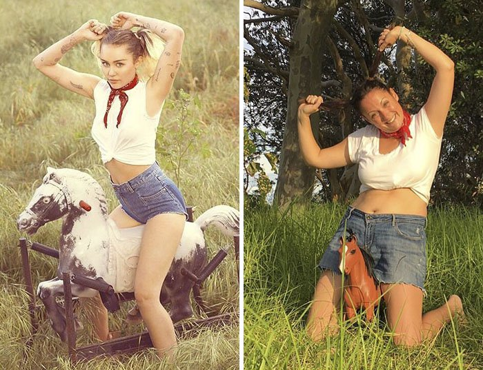 Comedienne Hilariously Recreates Celebrity Instagram Photos riding rocking horse