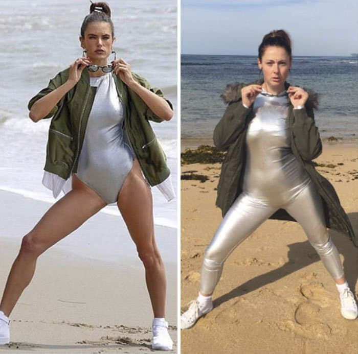 Comedienne Hilariously Recreates Celebrity Instagram Photos space suit on beach