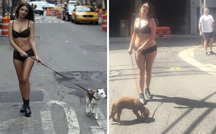 Comedienne Hilariously Recreates Celebrity Instagram Photos walking dog in underwear