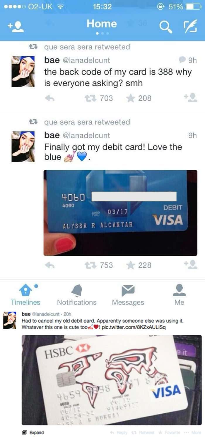 Facepalm Moments bank card on twitter