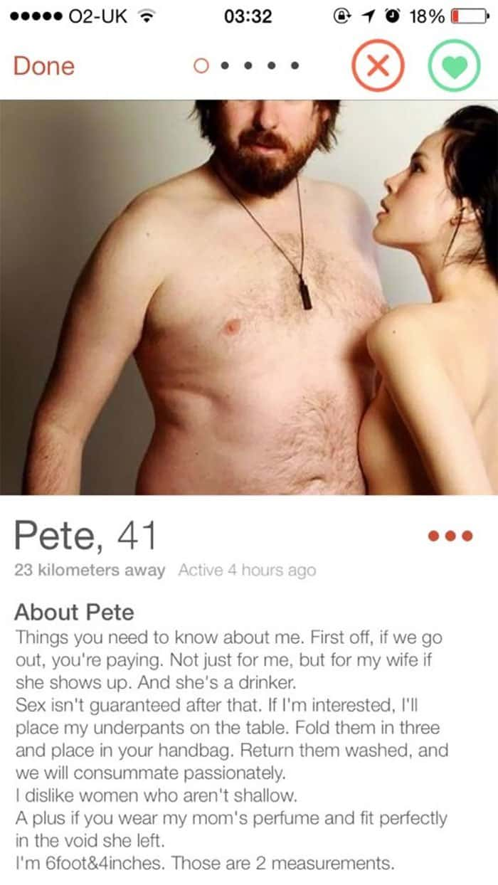 Funny Tinder Profiles if we go out youre paying