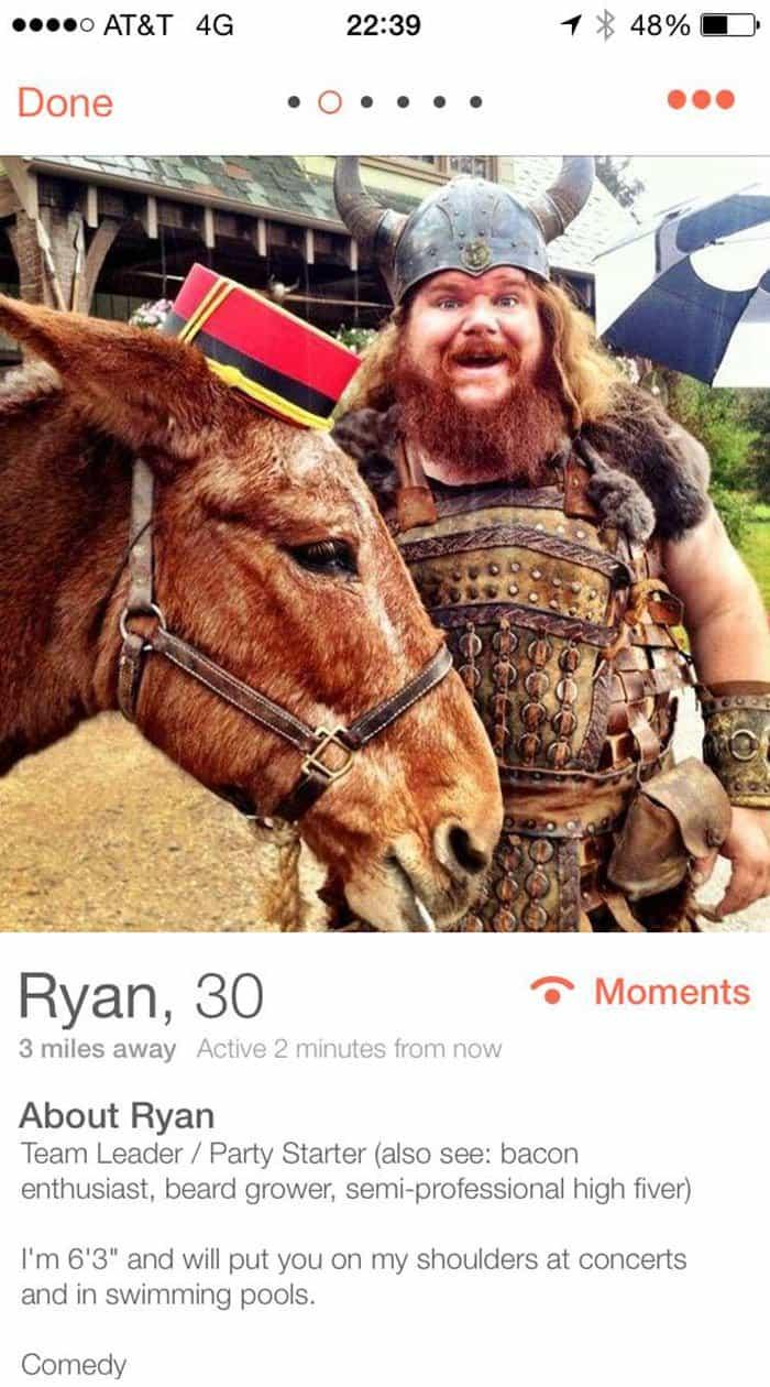 Funny Tinder Profiles team leader party starter