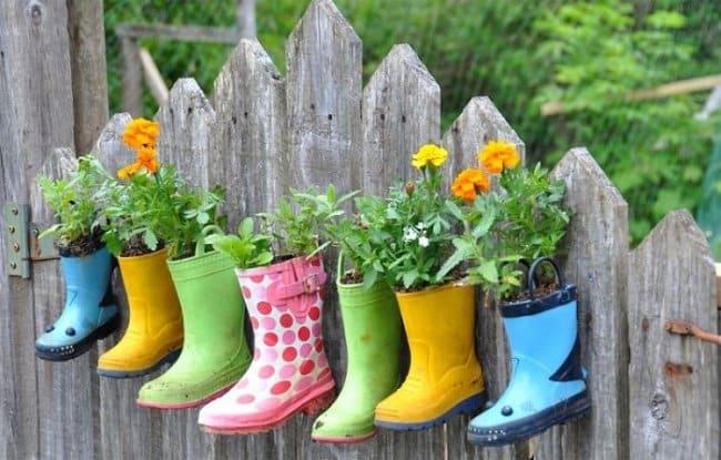Garden Fence Ideas rubber boot flower holders