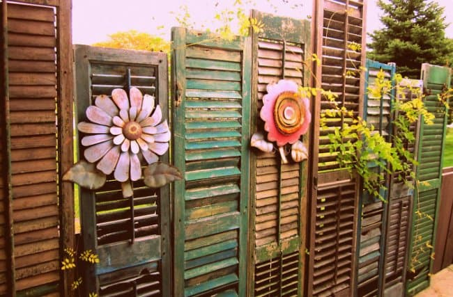 Garden Fence Ideas Shutter Flowers