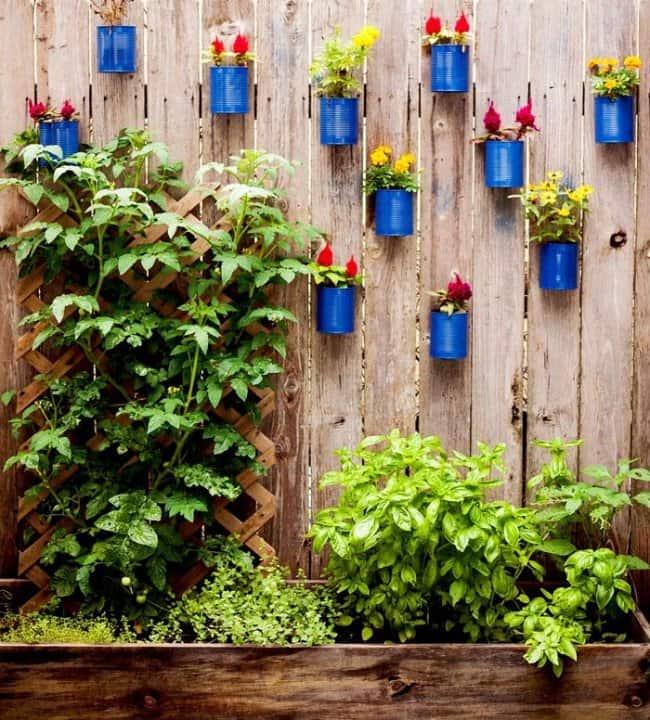 Garden Fence Ideas tin can planters